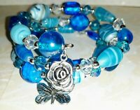 Memory Wire Bracelet with Blue w/White Glass Beads  Charms on ends FREE SHIPPING