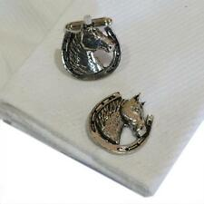 Cufflinks Lucky Horseshoe Handmade in Eng Silver Pewter Horses Head High Quality