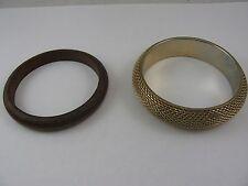 Two Bangles Bracelets 1 Wood 1 Gold Tone Metal