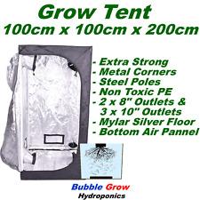 GROW TENT 100X100X200 DELUXE MYLAR REFLECTIVE INDOOR HYDROPONIC ROOM 100CM 200CM