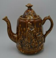 Antique Bennington Rockingham Pottery Rebekah at the Well Teapot with Lid 8""