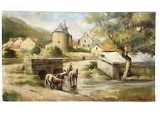Ecole hollandaise XIXème siècle. Huile sur panneau, paysage pastoral, willanber