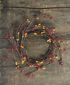 Pip Berry Candle Ring Burgundy Old Gold 3.5 inch Small Wreath Primitive Decor