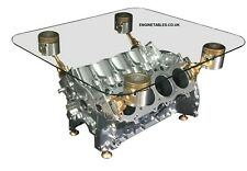 V8 Engine Block Coffee Table - CHROME AND GOLD