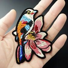 Woven IRON-ON PATCH Sew Embroidery Applique Fashion Badge BIRD & FLOWER