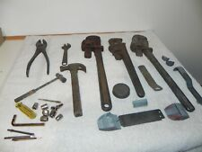 Vintage Tools.. 3 Pipe wrenchs.. couple small hammers and other things