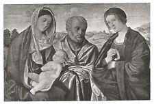 D0396 Vincenzo Catena - La Sacra Famiglia - Stampa antica del 1931 - Old Print