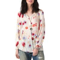 Lucky Brand Womens Size S Beige Major Floral Peasant Top Long Sleeves Pullover