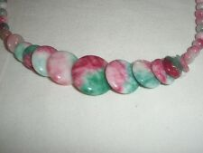 Rainbow Jade Graduated Beaded Necklace Greens Pinks and White