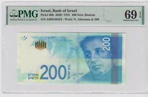 2020 ISRAEL 200 New Shekels 💲 P# 68b !!! 💲 PMG 69 EPQ  Superb Gem UNC .TOP POP
