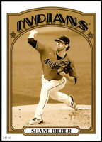 Shane Bieber 2021 Topps Heritage 5x7 Variations Gold #47A /10 Indians Action