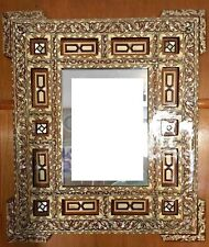 """Antique Wall Mounted Mirror, Wood Frame Inlaid Mother of Pearl (30.8"""" x 26.8"""")"""