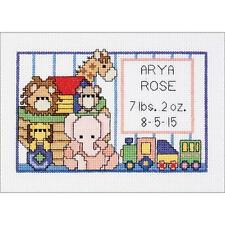 Noahs Ark Birth Sampler Counted Cross Stitch Birth Announcement by Janlynn