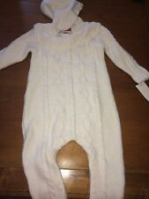 Oshkosh Baby B'gosh White Cable Knit Buttoned Sweater One Pic  Romper NWT SZ 18m