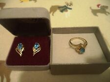 3-PIECE SET: 14K Yellow Gold Blue Topaz & Diamond Ring and Earrings, size 7 ring