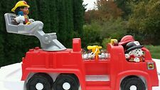 Fisher Price Little People Style 3 Fire Truck 2 posable firemen 1 fire dog