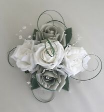 FLOWERS SILVER GREY WHITE WEDDING CAKE TOPPER TABLE DEC FISH BOWL CENTREPIECE
