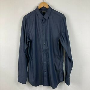 Banana Republic Mens Button Up Shirt Size L Large Blue Long Sleeve Collared