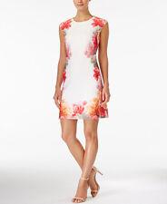 CALVIN KLEIN $134 NEW 11502 Cap Sleeve Floral Print Sheath Womens Dress 12