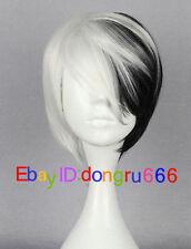 Half Black Half White Short Wig Anime Cosplay Cruella DeVille + Free wig cap