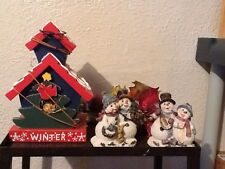 Christmas Pair Of Snowman Figures Birdhouse Vintage Home Interiors Gifts Gtc