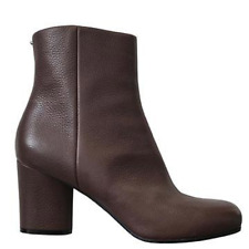 Maison Martin Margiela Brown Grained Leather Ankle Boots Cylindrical Heel Sz 41