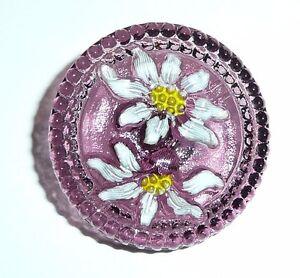 Beautiful White & Yellow Daisy Flowers on Purple Czech Glass Shank Button 27mm