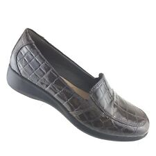 Clarks Collection Gael Bobtail Gray Patent Leather Croc Print Womens SIZE 7.5 M