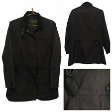 Barbour Ladies Utility Black Mac Jacket Coat Zip Pockets Belt Casual Work Sz 14