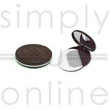 Niñas estilo Oreo galleta de Chocolate compacto espejo y peine Set