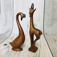RARE VTG MCM Modernist Animal Sculptures Faux Wood Gazelle/Ram Goose/Swan Gems