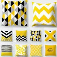 Yellow Pillow Geometric Cushion Cover Polyester Decoration Decorative Coussin