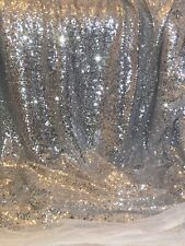 """3.5 MTR Silver/White Sparkly Sequin Lace Fabric 58""""wide Dress Backdrop Bridal"""