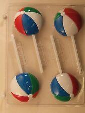 BEACH BALL LOLLIPOP CLEAR PLASTIC CHOCOLATE CANDY MOLD S068