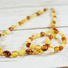 Natural Baltic Amber Bracelet Necklace Set Genuine Brown White Beads Silver