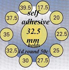 100 HARTBERGER self adhesive coin holders:32.5 mm   made in the Netherlands