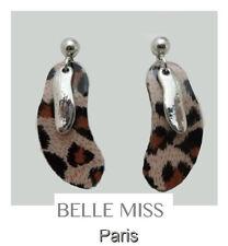 Luxus Ohrringe Ohrstecker Ohrschmuck Belle Miss Paris Resin Versilbert Leopard