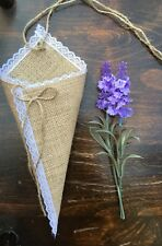 10 x Empty Lace Hessian Pew Ends/Cones Barn Vintage Rustic Wedding Decoration