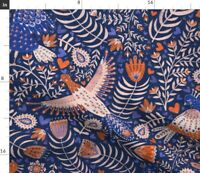 Scandinavian Folk Art Blue Birds Pink Fabric Printed by Spoonflower BTY