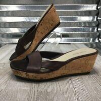 Nine West Brown Leather Women's Cork Platform Sandal Shoe Size 8