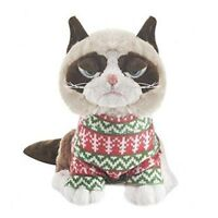 "Ganz 8"" Plush Grumpy Cat Sitting  with Christmas Sweater NEW with mfg tags"