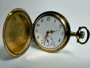 NICE GOLD PLATED SWISS MADE, 16s, 7 Js, F/HUNTER POCKET WATCH, SPARES or REPAIR!