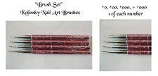 Kolinsky Nail Art Brush Set METAL Handle + Gems Hearts Dark Pink O,OO,OOO,OOOO