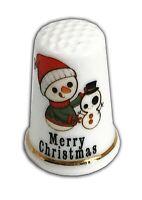 Personalised Christmas Snowman 4 Bone China Thimble, Christmas Stocking Filler