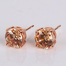 HUCHE 18K rose gold filled champagne Yellow sapphire Topaz Lady Earrings Studs