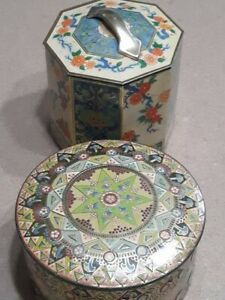 Antique highly decorative tins. Excellent condition. MUST SEE! Both Incl.