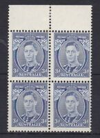 APD162) Australia 1937 3d Blue KGVI Die 1. Mint Unhinged top marginal block of 4