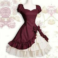 Victorian Maid Wear Lolita Red Fancy Dress Uniform Cosplay Costume Halloween