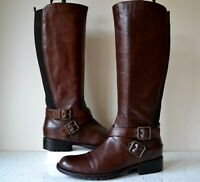 "DUNE,LONDON ""TUNIC"" CHESTNUT LEATHER FLEXIBLE CALF KNEE HIGH RIDING BOOTS UK 5"