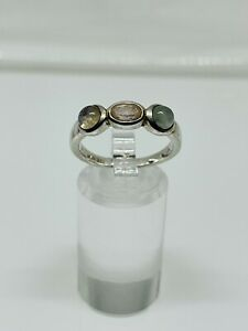 Gorgeous Sparkling Moonstone & Rose Quartz Ring 925 Silver Size Q~Q1/2 #14619